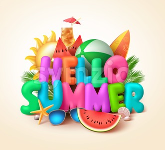 Hello Summer Text Banner Vector Design with Colorful Summer Elements Stock Vector