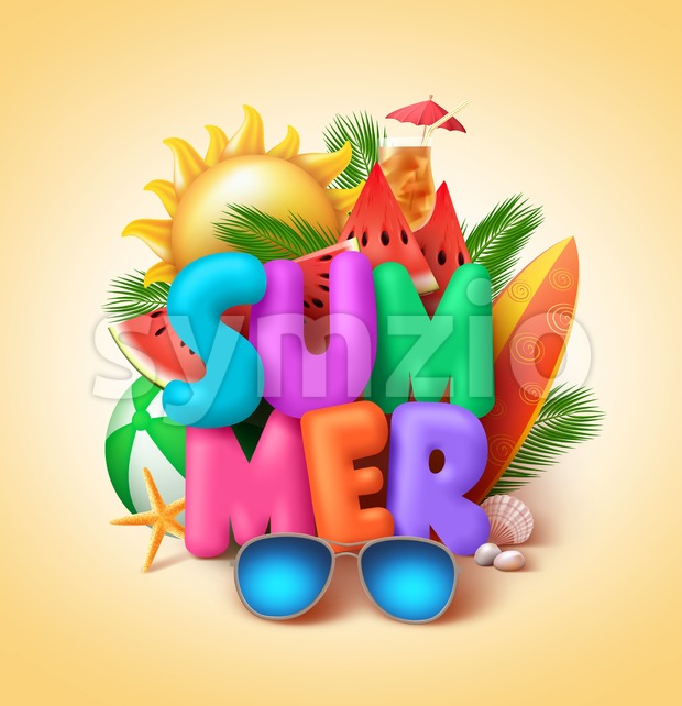 Summer vector banner design with 3d colorful summer text and beach elements like watermelons and sunglasses in yellow background. Vector ...