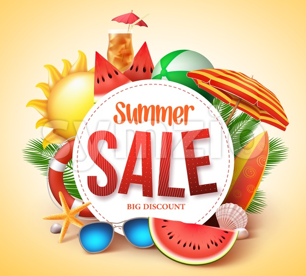 Summer Sale Vector Banner Design for Promotion Stock Vector