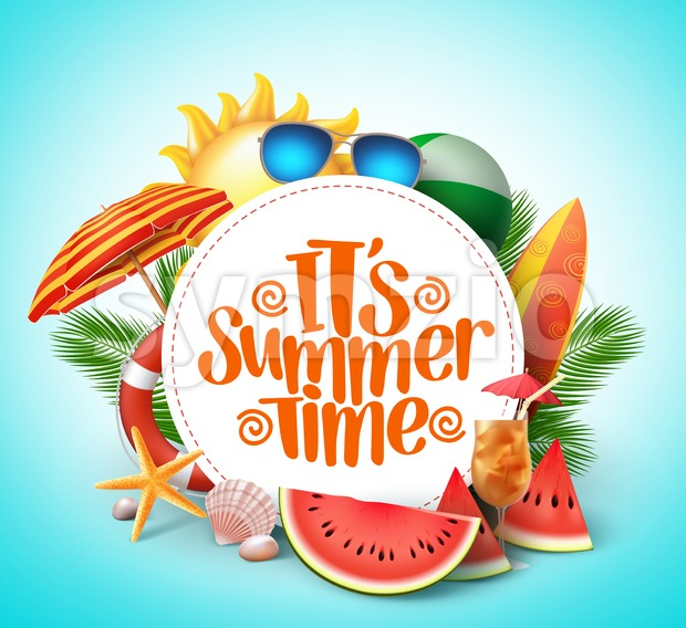 Summer time vector banner design with white circle for text and colorful beach elements in white background. Vector illustration. This ...