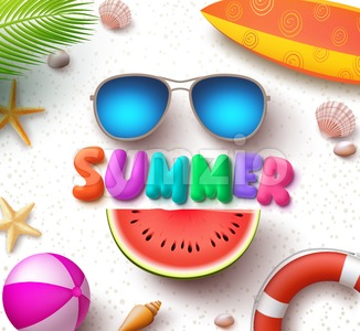 Summer Vector Text in White Sand Background with Sunglasses Stock Vector