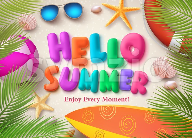 Hello summer colorful vector text in banner design with palm leaves, beach ball and starfish background for seasonal holiday. Vector ...