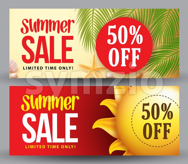 Summer Sale Vector Banner Set of Designs for Summer Holiday Stock Vector