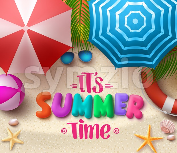 Summer time vector colorful text in the sand with beach umbrellas, objects and elements under palm leaves. Vector illustration. This ...