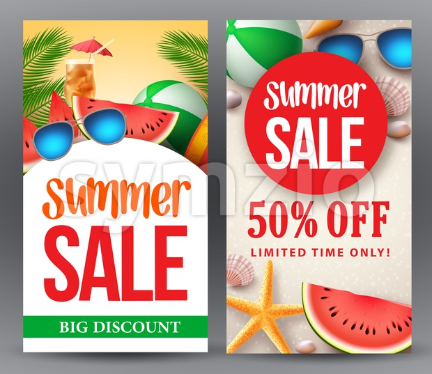 Summer sale vector banner set designs with 50% off discount for season shopping promotion with tropical background. Vector illustration. This ...