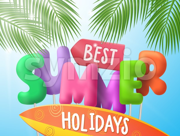Best summer holidays vector banner with colorful 3d text and surfboard under palm leaves in blue sky background. Vector illustration. ...