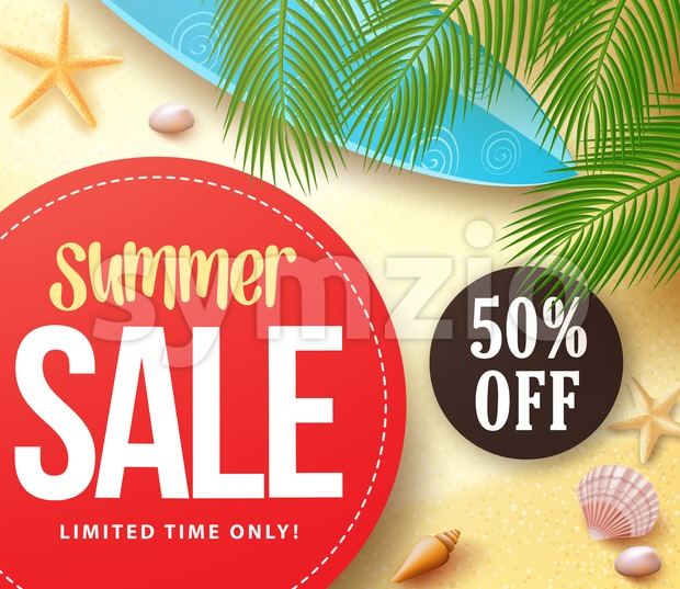 Summer sale with 50% off in red circle with palm leaves in the sand for summer seasonal marketing promotion banner. ...