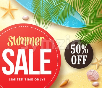 Summer Sale with 50% Off in Red Circle with Palm Leaves Stock Vector
