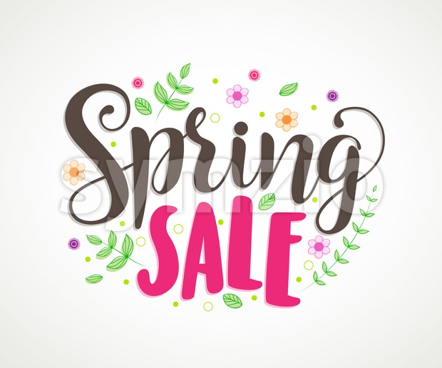 Spring Sale Text Vector Typography Banner Design Stock Vector