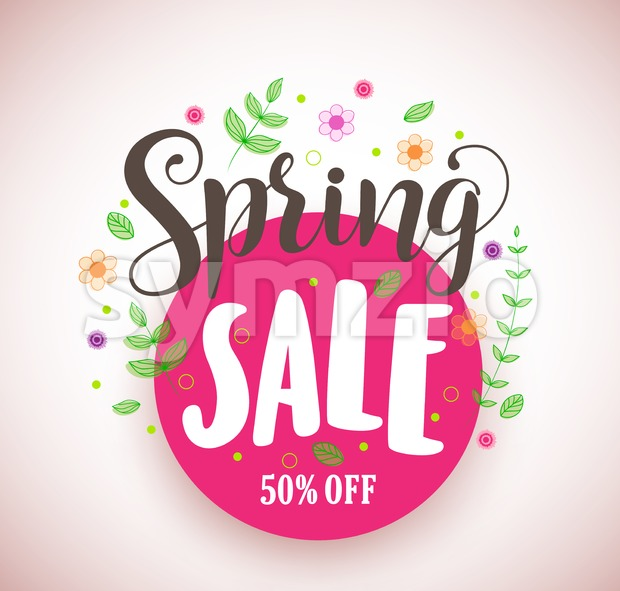 Spring Sale Vector Design Promotional Banner in Pink Circle Stock Vector