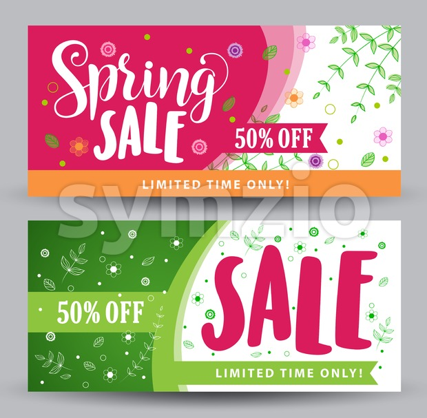 Spring Sale Banners with Different Colorful Designs Stock Vector