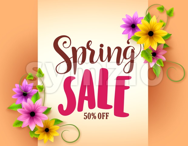 Spring Sale Vector Banner Design with Colorful Flowers Stock Vector