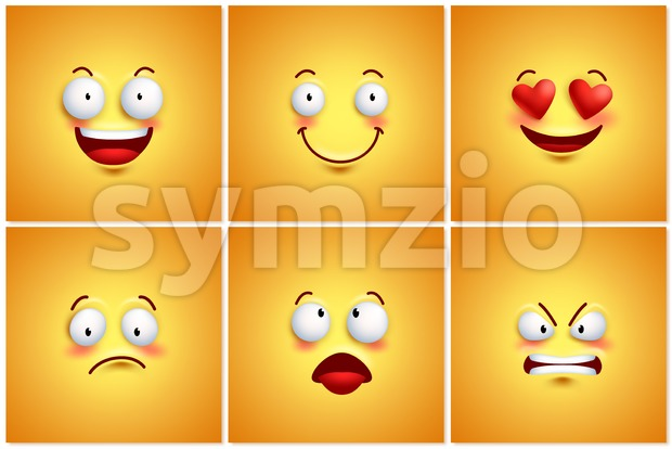 Funny Smileys Vector Poster Wallpaper Backgrounds Set Stock Vector