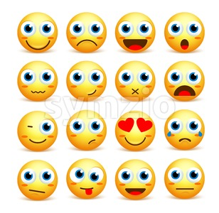Smiley Face Vector Set of Emoticons and Icons Stock Vector