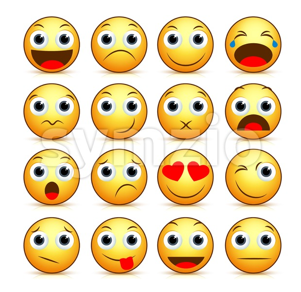 Vector cartoon smiley face set of yellow emoticons and icons with funny facial expressions and emotions isolated in white background. ...