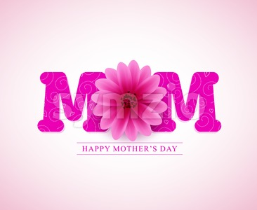 Happy Mothers Day Vector Greetings Card Design with 3D Mom Text Stock Vector