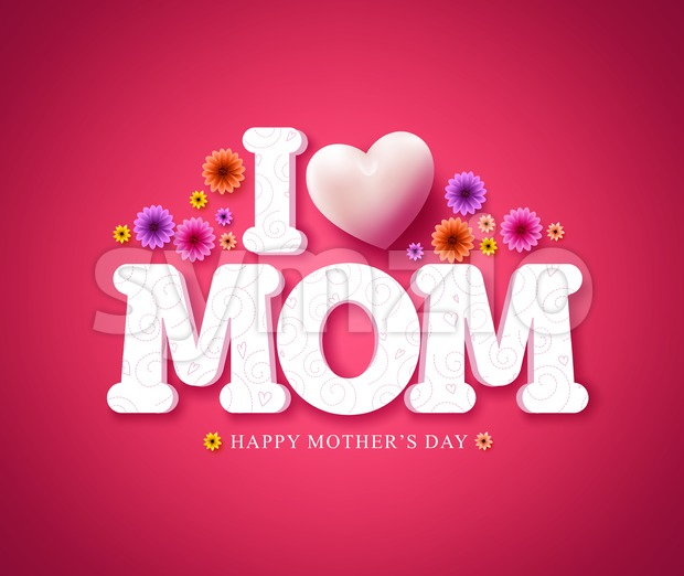 I love mom text greeting card in 3d vector for mothers day Stock Vector