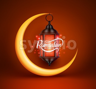 Ramadan Kareem Vector Greetings Design with Lantern or Fanoos Stock Vector
