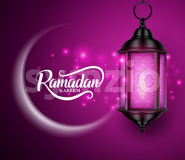 Lantern or Fanous Hanging with Crescent Moon and Lights for Ramadan Stock Vector