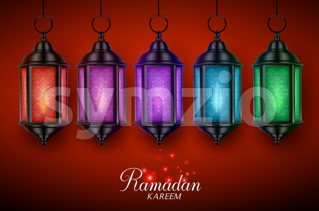 Lantern lamp or fanous vector set with colorful lights hanging in red dark background with ramadan kareem greetings for muslim. ...