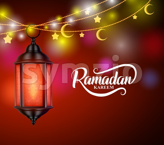 Ramadan Kareem Vector Design with Hanging Lantern or Fanoos Stock Vector