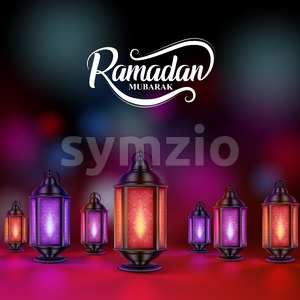 Ramadan Mubarak Vector Design with Colorful Lanterns or Fanoos Stock Vector