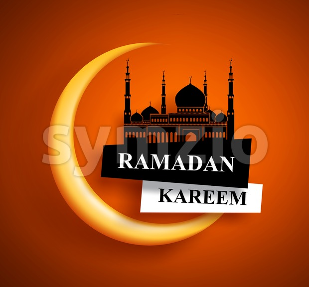 Ramadan kareem greeting vector design for muslims fasting with crescent moon and mosque in orange background. Vector illustration. This vector ...