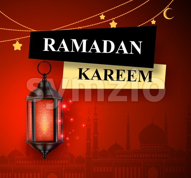 Ramadan Kareem Greeting Vector Banner Design with Lantern Stock Vector