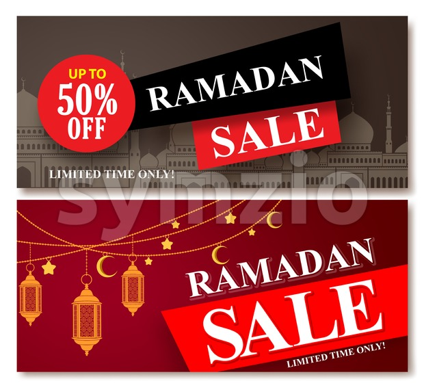 Ramadan sale vector banner designs set for shopping discount promotion with mosque and lantern element in a background. Vector illustration. ...