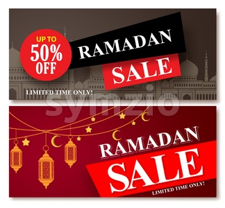 Ramadan Sale Vector Banner Designs Set for Shopping Discount Stock Vector