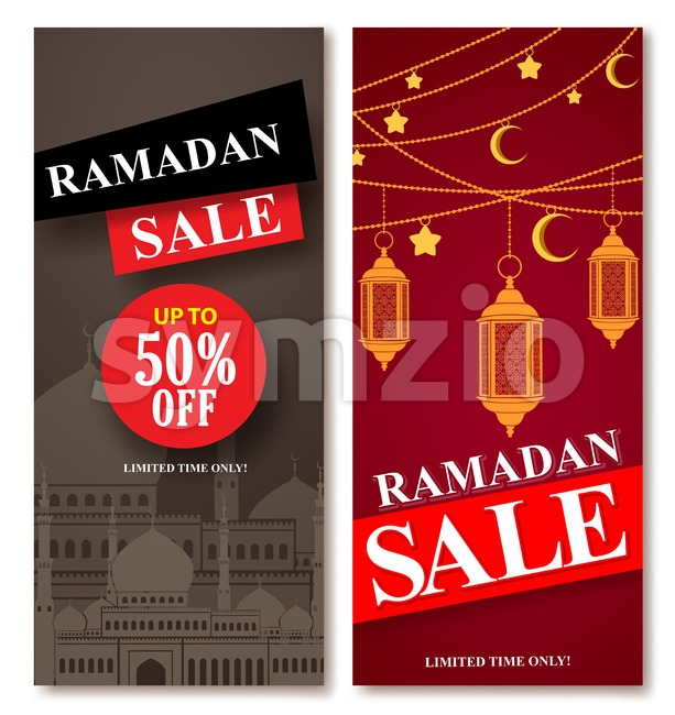 Ramadan Sale Vector Web Poster Designs Set with Mosque and Lantern Stock Vector