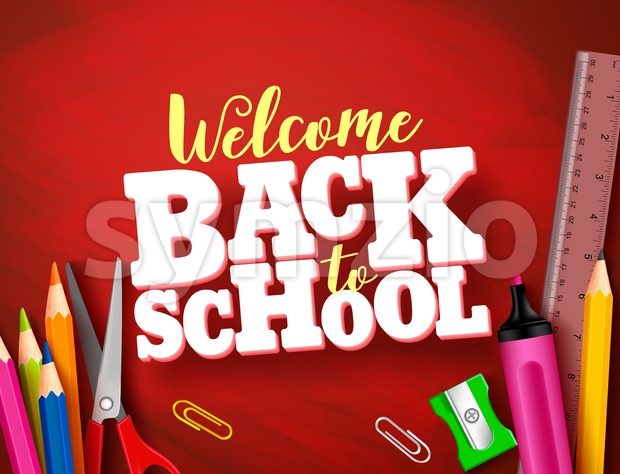 Back to school vector banner design in red texture background with school supplies and items and 3d title. Vector illustration. ...