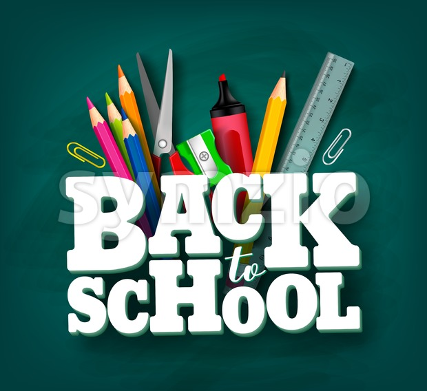 Back to school vector design with 3d title and school items and elements in green chalkboard background. Vector illustration. This ...