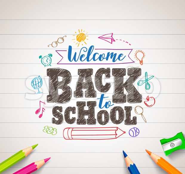 Back to School Vector Drawing in White Paper with Colorful Crayons Stock Vector