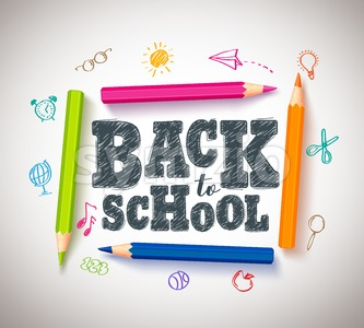 Back to School Vector Typography Banner Design with Colorful Crayons Stock Vector