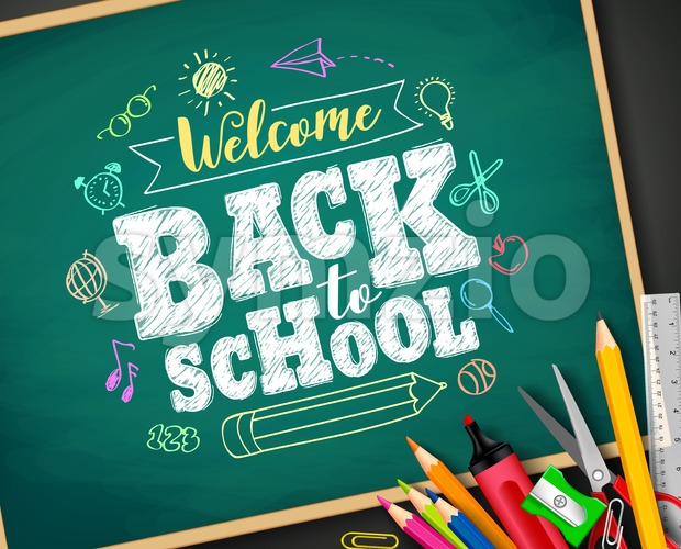 Welcome back to school text drawing by colorful chalk in blackboard with school items and elements. Vector illustration banner. This ...