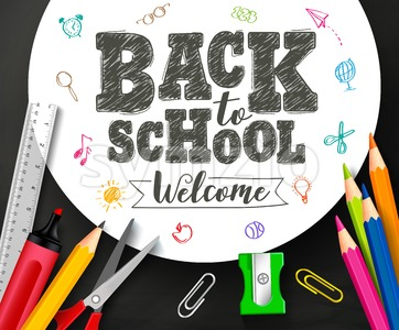 Back to School Vector Banner Design with Drawing By Crayons Stock Vector