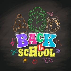 Back to School Vector Design with Colorful Texts and Education Related Stock Vector