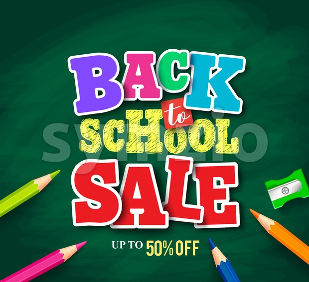 Back to school sale vector banner design for store promotion with colorful pencils in textured green background. Vector illustration. This ...