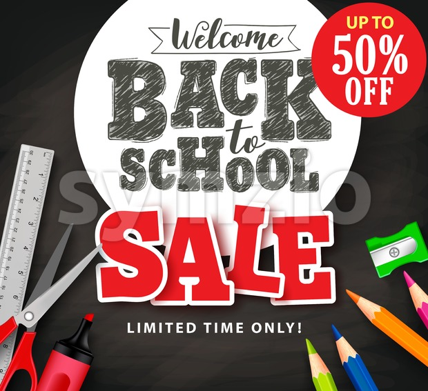 Welcome back to school sale text in vector with school items and supplies for store promotion banner in black textured ...