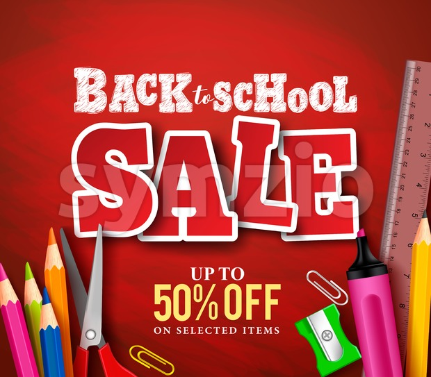 Back to school sale banner vector design in red background with school items and objects for store discount promotion. Vector ...