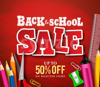 Back to School Sale Banner Vector Design with School Items Stock Vector