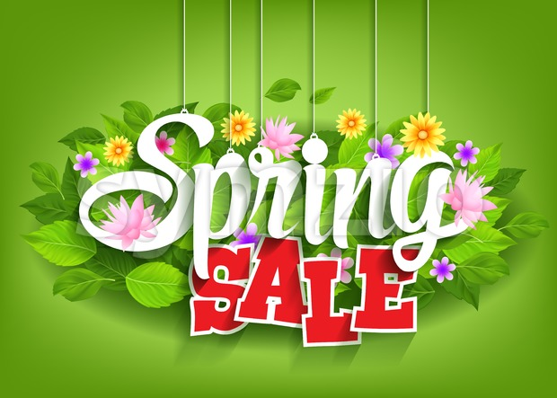 Spring Sale Word Hanging on Leaves Vector Stock Vector