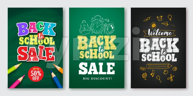 Back to School Sale Vector Set of Poster and Banner Stock Vector