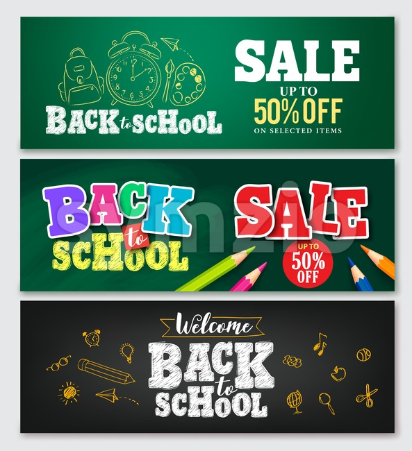 Set of vector banner back to school designs with colorful elements and text in green and black background for store ...