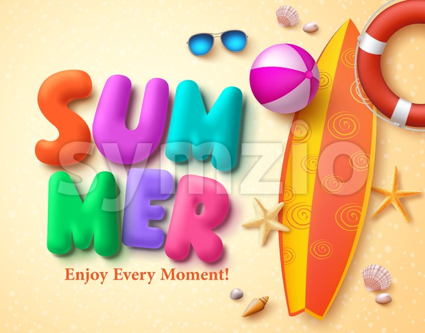Summer Vector Design Concept with colorful 3D text written and summer elements in beach sand background. Vector illustration. This vector ...