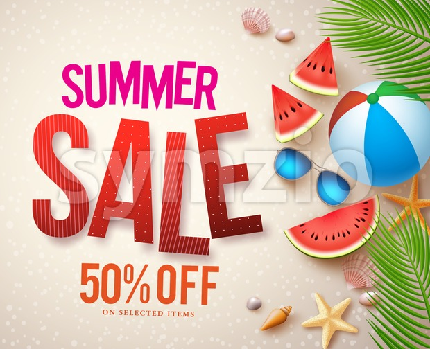 Vector summer sale banner design with red sale text and colorful elements in beach sand background for shopping discount promotion. ...