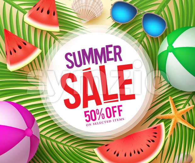 Summer sale text in white circle with colorful vector summer elements and palm leaves background for seasonal shopping promotion. Vector ...