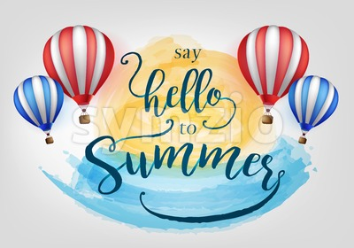 Beautiful Say Hello to Summer Lettering Stock Vector
