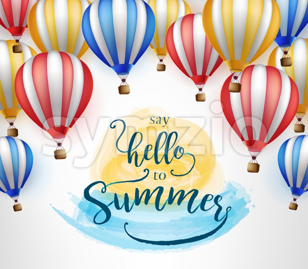 Flying Hot Air Balloon with Say Hello to Summer Message Stock Vector